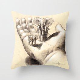 Pocket Elephants Throw Pillow