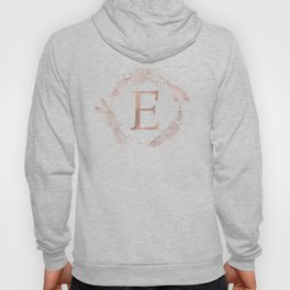 Letter E Rose Gold Pink Initial Monogram Hoody