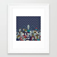 twin peaks Framed Art Prints featuring Twin Peaks by Ale Giorgini