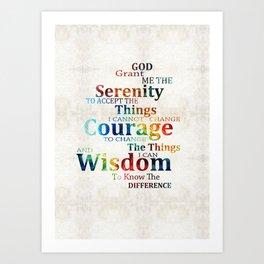 Colorful Serenity Prayer by Sharon Cummings Art Print