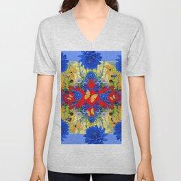 VERY BLUE  FLOWERS YELLOW BUTTERFLIES PATTERN ART Unisex V-Neck