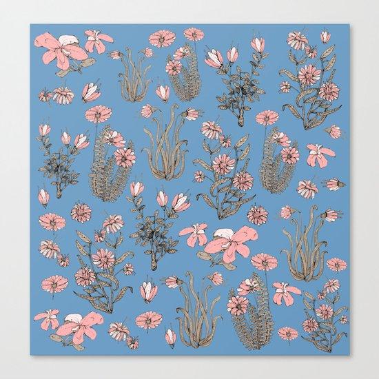 Flowers on Blue! Canvas Print