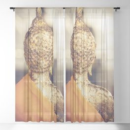 Buddha the other side Sheer Curtain