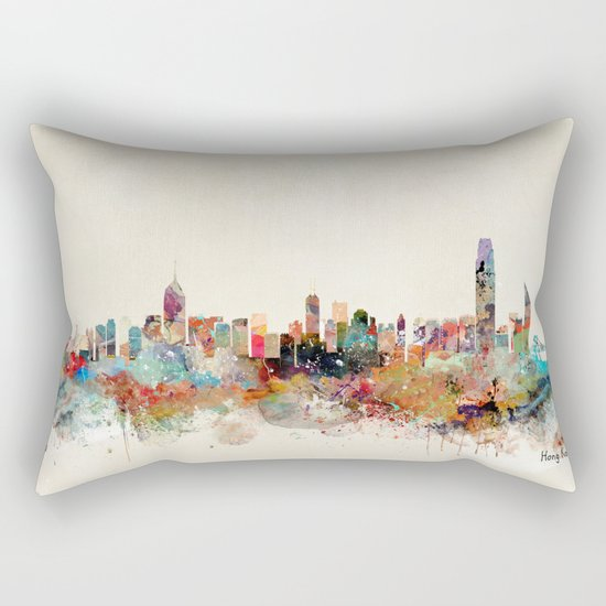 hong kong skyline Rectangular Pillow