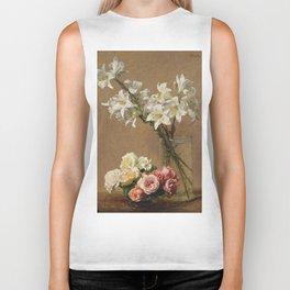 Henri Fantin-Latour - Roses And Lilies Biker Tank