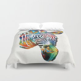 Colorful Zebra Face by Sharon Cummings Duvet Cover