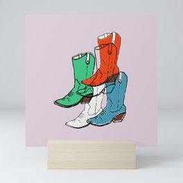 Cowgirl Boot Mood - these boots are made for walking Mini Art Print