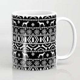 Greyhound fair isle christmas holidays pattern black and white dog gifts Coffee Mug