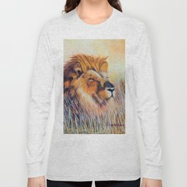 Lion sun bathing | Bain de soleil Lion Long Sleeve T-shirt