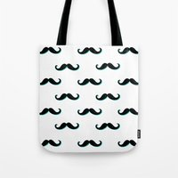mustache Tote Bags featuring Mustache by JoanaRosaC