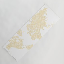 Floral watercolor world map in cream and light brown, Remy, no labels Yoga Mat