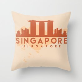 SINGAPORE CITY MAP SKYLINE EARTH TONES Throw Pillow