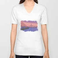 skyline V-neck T-shirts featuring Skyline  by Astralview