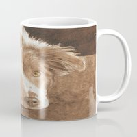 border collie Mugs featuring Border Collie Puppy Wren by Yvonne Carter