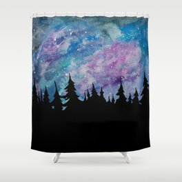 Galaxies and Trees Shower Curtain