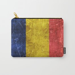 Vintage Aged and Scratched Romanian Flag Carry-All Pouch