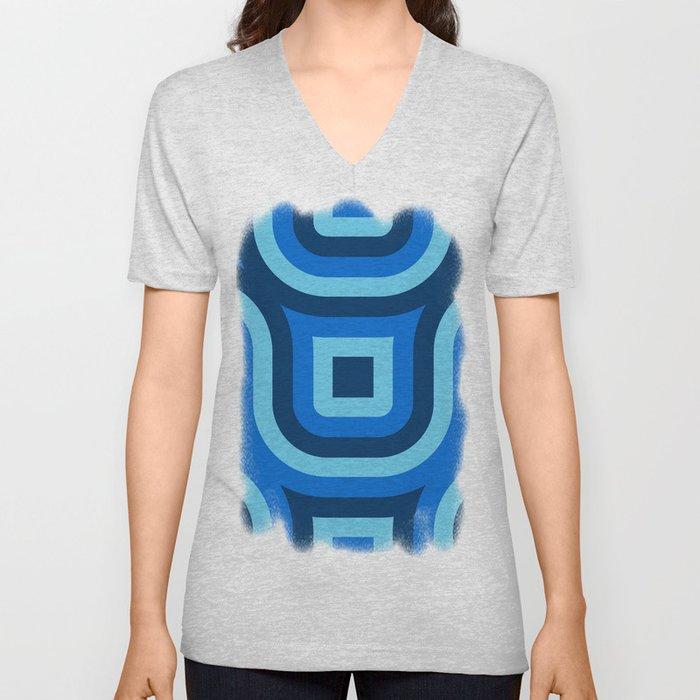 Blue Truchet Pattern Unisex V-Neck