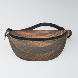 Earthen Brown Circular Fractal on a Woven Wicker Samurai Fanny Pack
