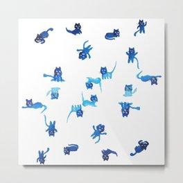 Tiny Blue Cats Metal Print