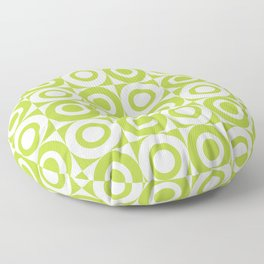 Mid Century Square and Circle Pattern 541 Chartreuse Floor Pillow