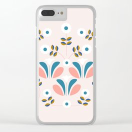 Pretty retro flowers Clear iPhone Case