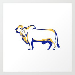 Brahman Bull Side View Retro Art Print