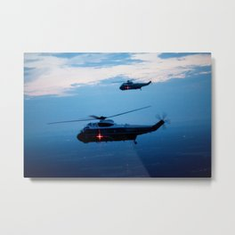 Support Helicopters Fly at Dusk Metal Print
