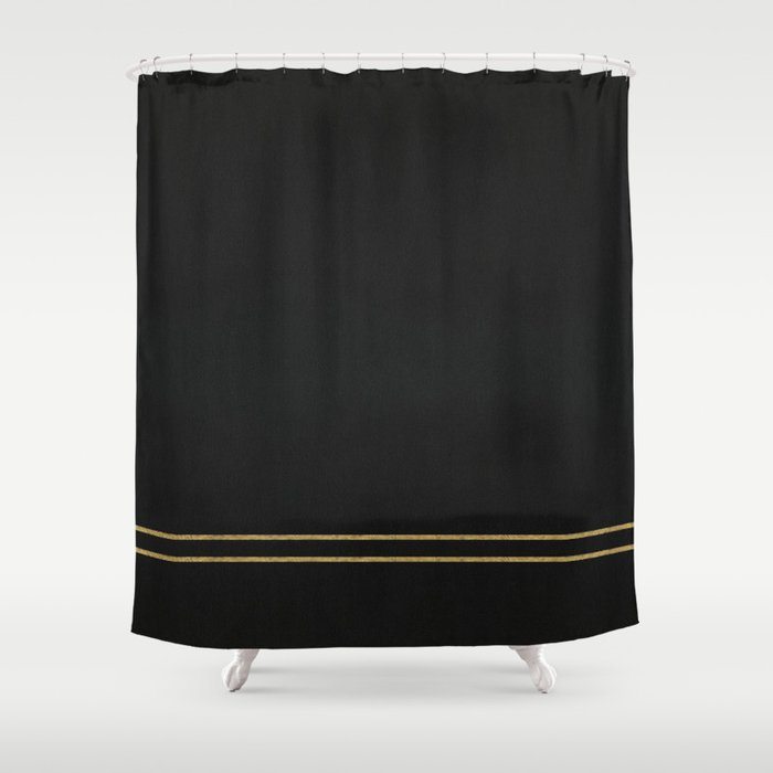 Black Velvet with Gold Lines Shower Curtain by ashleyliu | Society6