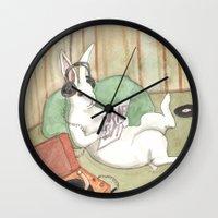 vinyl Wall Clocks featuring Vinyl by Bluedogrose