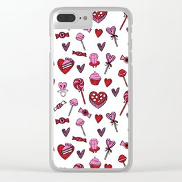 Valentines candy hearts chocolates love gifts for sweetheart Clear iPhone Case