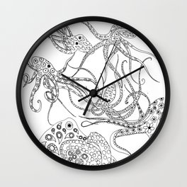 Consortium of Octopi BW Wall Clock