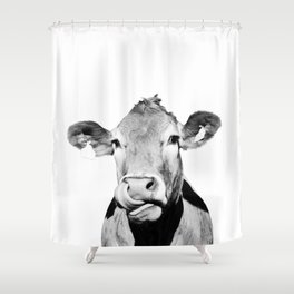 Cow photo - black and white Shower Curtain
