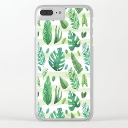 Tropical Palm Tree Leaves Clear iPhone Case