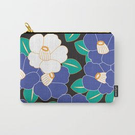 Japanese Style Camellia - Blue and Black Carry-All Pouch