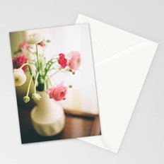 Pink and White Flowers in a Mid-Century Vase Stationery Cards