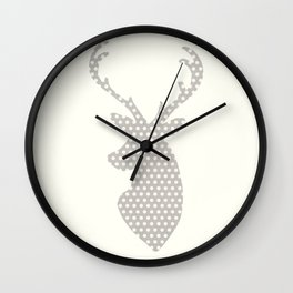 Deer head, art, polka dot, modern, vintage Wall Clock