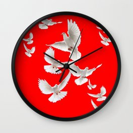 FLOCK OF WHITE PEACE DOVES ON RED COLOR Wall Clock