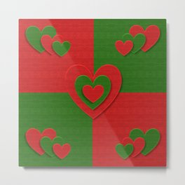 Christmas fabric love hearts red green pattern Metal Print