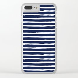 Navy Blue Stripes on White II Clear iPhone Case