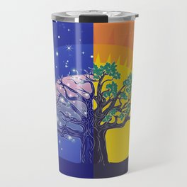 Stylized silhouette of big tree, day and night landscape Travel Mug
