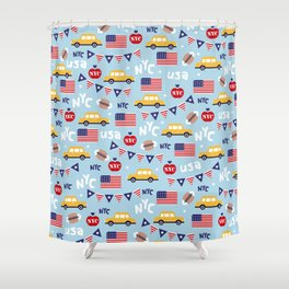 Made in the USA New York City icons pattern Shower Curtain