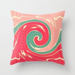 Big red wave Throw Pillow