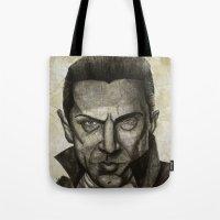 dracula Tote Bags featuring Dracula by Colunga-Art