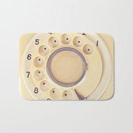 Yellow Retro Telephone  Bath Mat