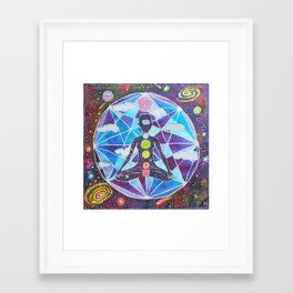 Meditation Chakra Space Tapestry Rainbow Galaxy Psychedelic Painting Art (Intergalactic Beings) Framed Art Print