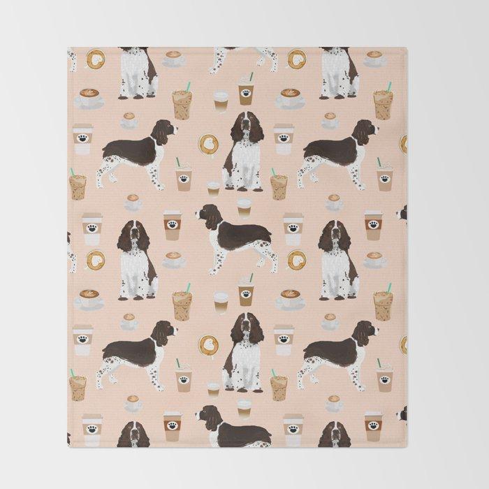 441de8f687f7f English Springer Spaniel coffee lover dog breed pet portraits custom dog  gifts Throw Blanket