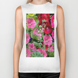 DECORATIVE PINK & RED GARDEN HOLLYHOCKS Biker Tank
