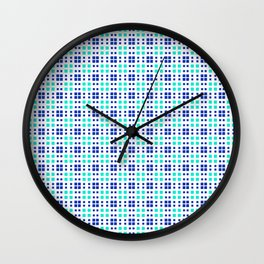 Turquoise Blue Cell Checks Wall Clock