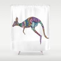 kangaroo Shower Curtains featuring kangaroo by Annie Liu