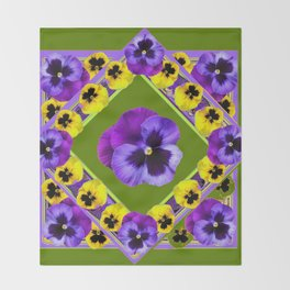 GREEN GEOMETRIC  PURPLE & YELLOW  PANS GARDEN ART Throw Blanket